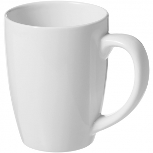 Trendy design 350 ml ceramic mug. Dishwasher safe in accordance with EN12875-1 (at least 125 washing cycles) for all decoration methods. Includes white carton box.