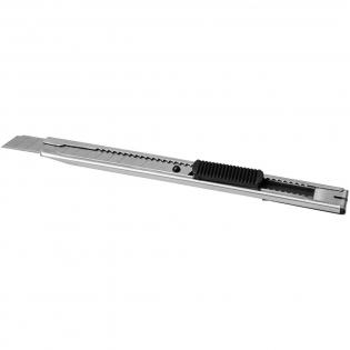 Couteau en acier inoxydable avec lame fine et dos à clipser. La lame se change facilement en enlevant le capuchon.