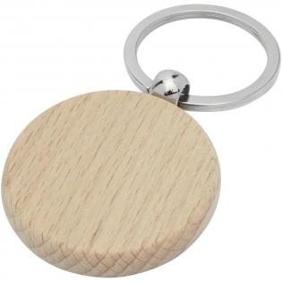 Runder Schlüsselanhänger aus Buchenholz, geliefert in braunem handgemachtem Papier. Der Schlüsselanhänger hat einen Durchmesser von 4 cm. Hergestellt für Lasergravur.