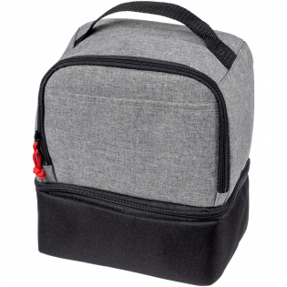 Dual cooler bag with 2 separate zippered compartments, a convenient carry handle and a contrasting zipper puller.