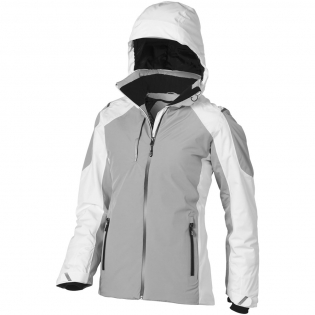 8000 mm Waterproof and 500 g/m² Breathable. Fully taped seam. Centre front waterproof zipper. Echoheat™ body lining. Interior media exit port with cord guide. Stretch knit storm cuffs with thumb exit. Inside pocket with zipper. Inner stormflap with chinguard. Detachable hood. Dropped back hem.