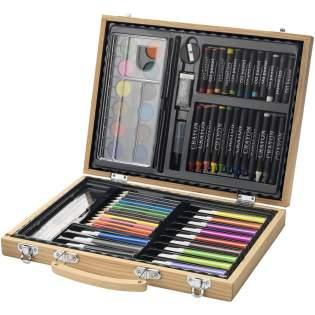 Peinture à l'eau 12 couleurs, 12 crayons de couleurs, 12 feutres, 12 crayons pour pastel, palette, gomme, taille-crayon, crayon HB, pinceau, le tout dans un magnifique coffret en bois. Marquage indisponible sur les composants.