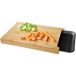 Versatile bamboo board with a handy tray that slides in place underneath the board.