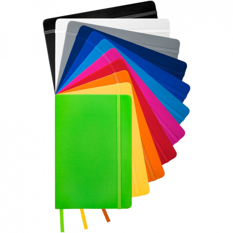 A5 notebook with matching colour elastic closure and ribbon. Includes 96 sheets (60g/m2) lined paper.