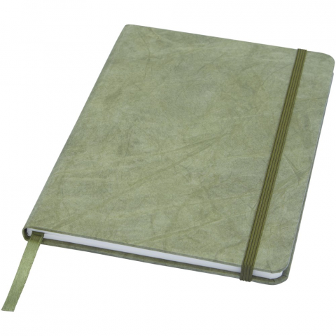 A5 size tear resistant notebook with inner pages made from stone. Stone paper is 100% tree free and the production process uses less energy compared to recycled or new pulp paper. It's water resistant so liquids spilled can easily be wiped off. Features a colour matching ribbon marker and elastic band and 60 sheets 120 g/m² lined stone paper. Packed in a cardboard sleeve.